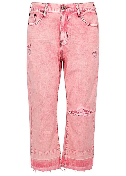 b450ae15efd Oneteaspoon Hooligans pink straight-leg cropped jeans - Harvey Nichols