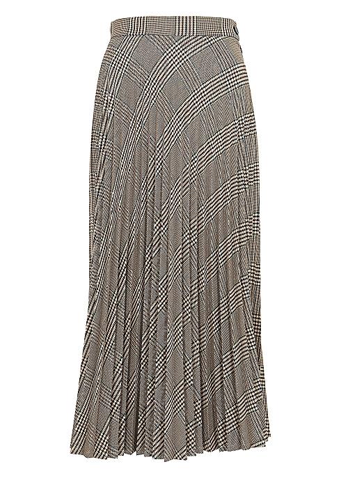 6f9aca406 MM6 by Maison Margiela Checked pleated twill midi skirt - Harvey Nichols