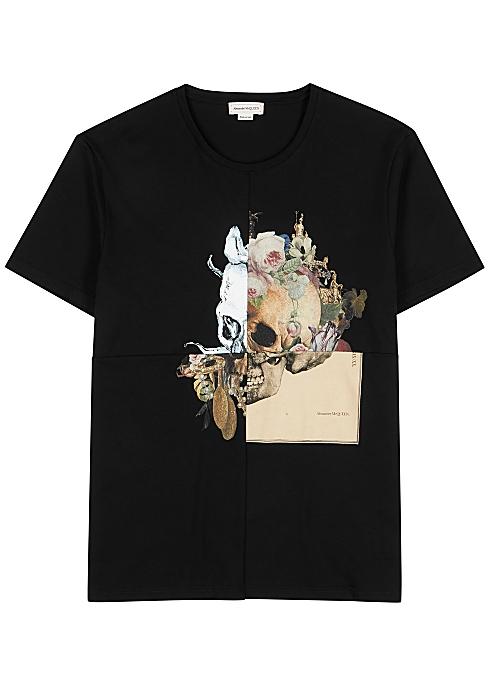e7ce9c75 Alexander McQueen Black printed cotton T-shirt - Harvey Nichols