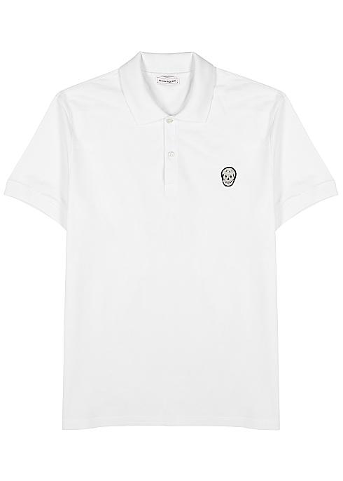 8bd29881 Alexander McQueen White skull-appliquéd cotton polo shirt - Harvey ...