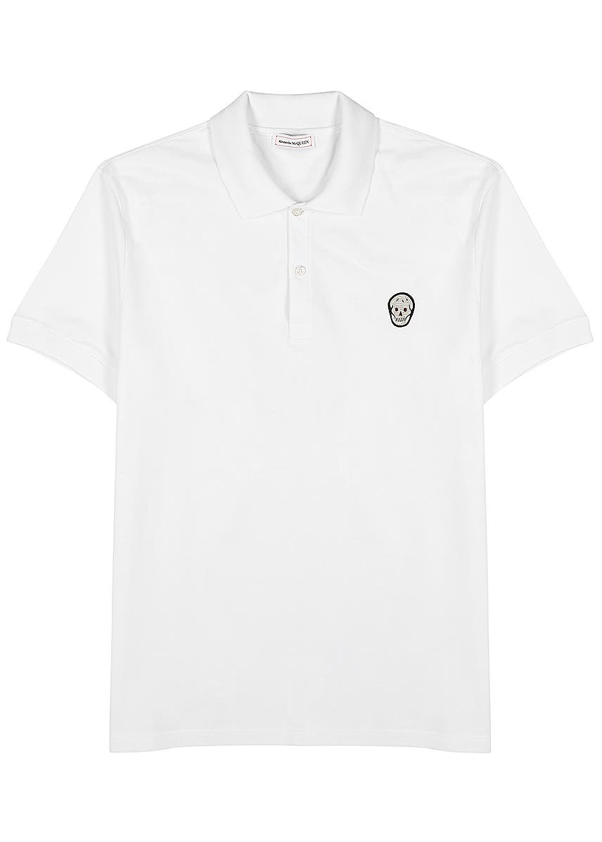 854f3bf778b9e4 White skull-appliquéd cotton polo shirt ...