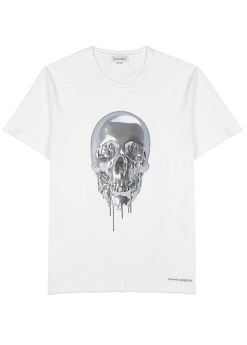 48a57043d47e16 Metallic Skull printed cotton T-shirt ...