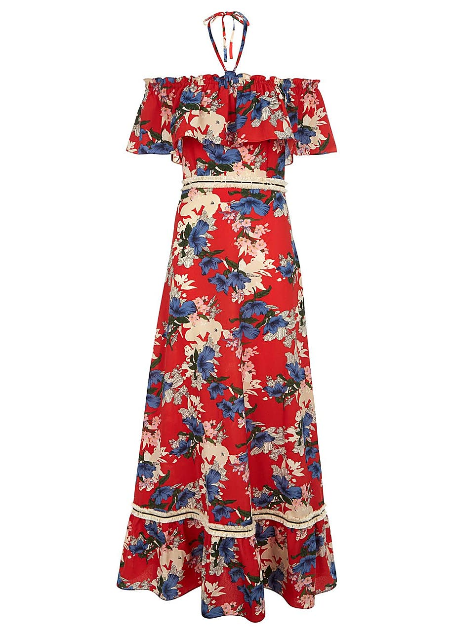 3c83201e1 Dancing in the sun floral off the shoulder maxi dress in red ...