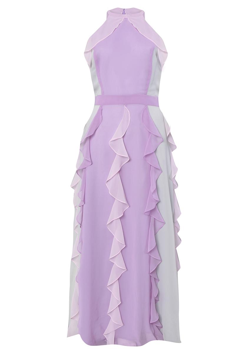 a5ff0437fdaf Pastel multi chiffon ruffled maxi dress ...