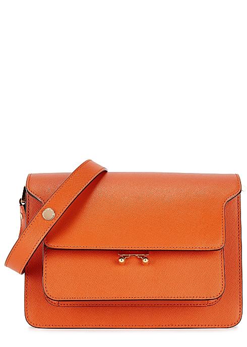 7e1d56216 Marni Trunk orange leather shoulder bag - Harvey Nichols