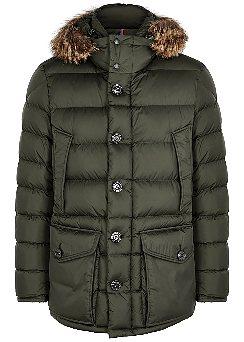 05eece000 Moncler Cluny green fur-trimmed quilted coat - Harvey Nichols