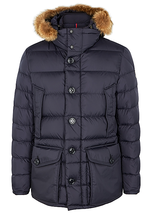fea663626 Moncler Cluny navy fur-trimmed quilted coat - Harvey Nichols