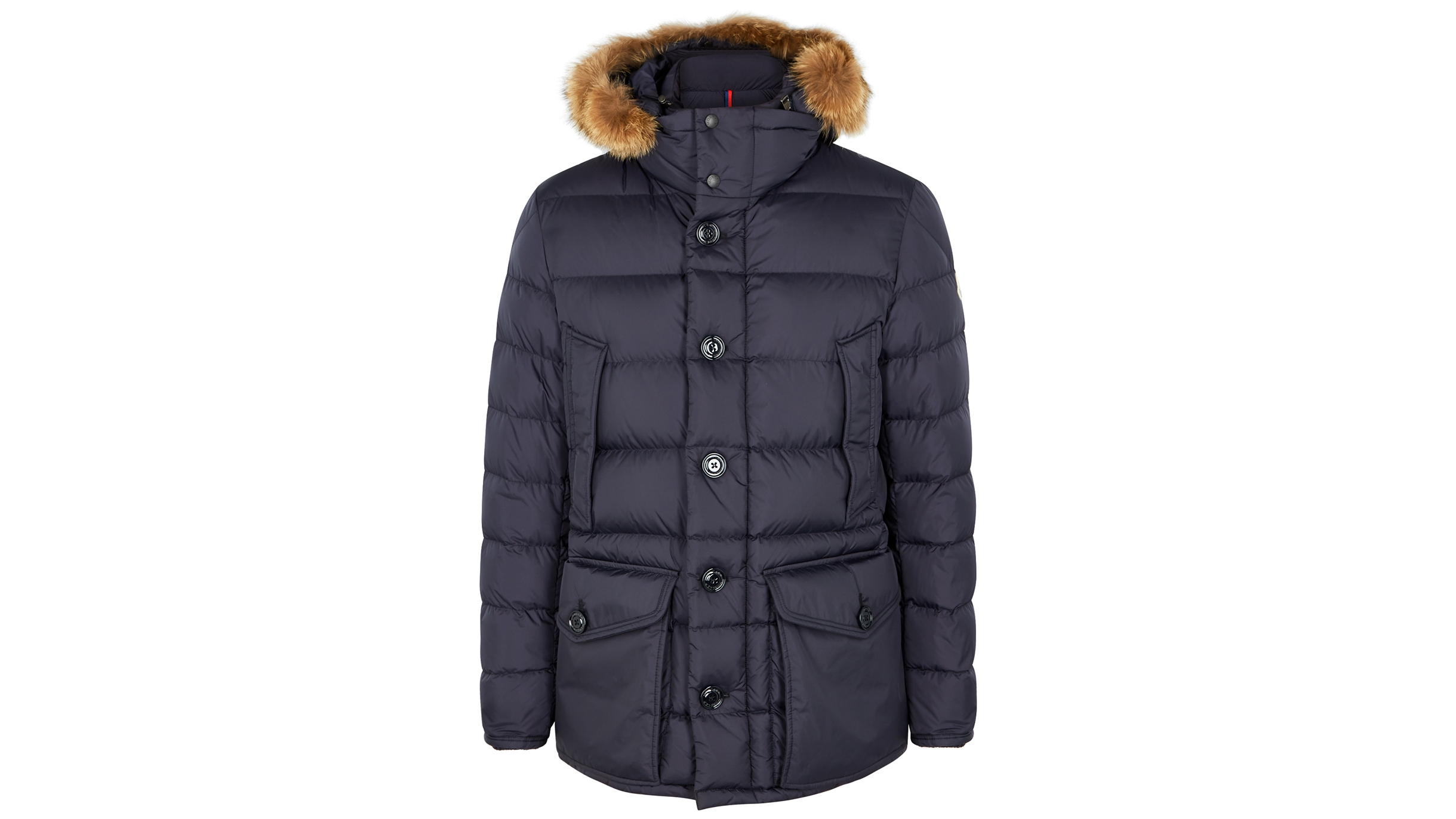df122caff Cluny navy fur-trimmed quilted coat