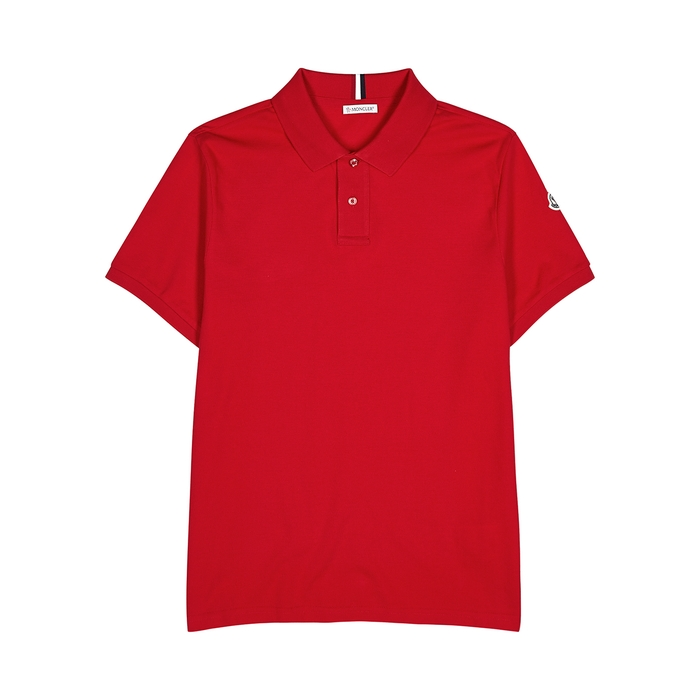 Moncler Red Piqué Cotton Polo Shirt