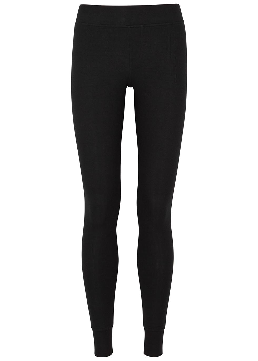 Black ribbed brushed stretch-jersey leggings
