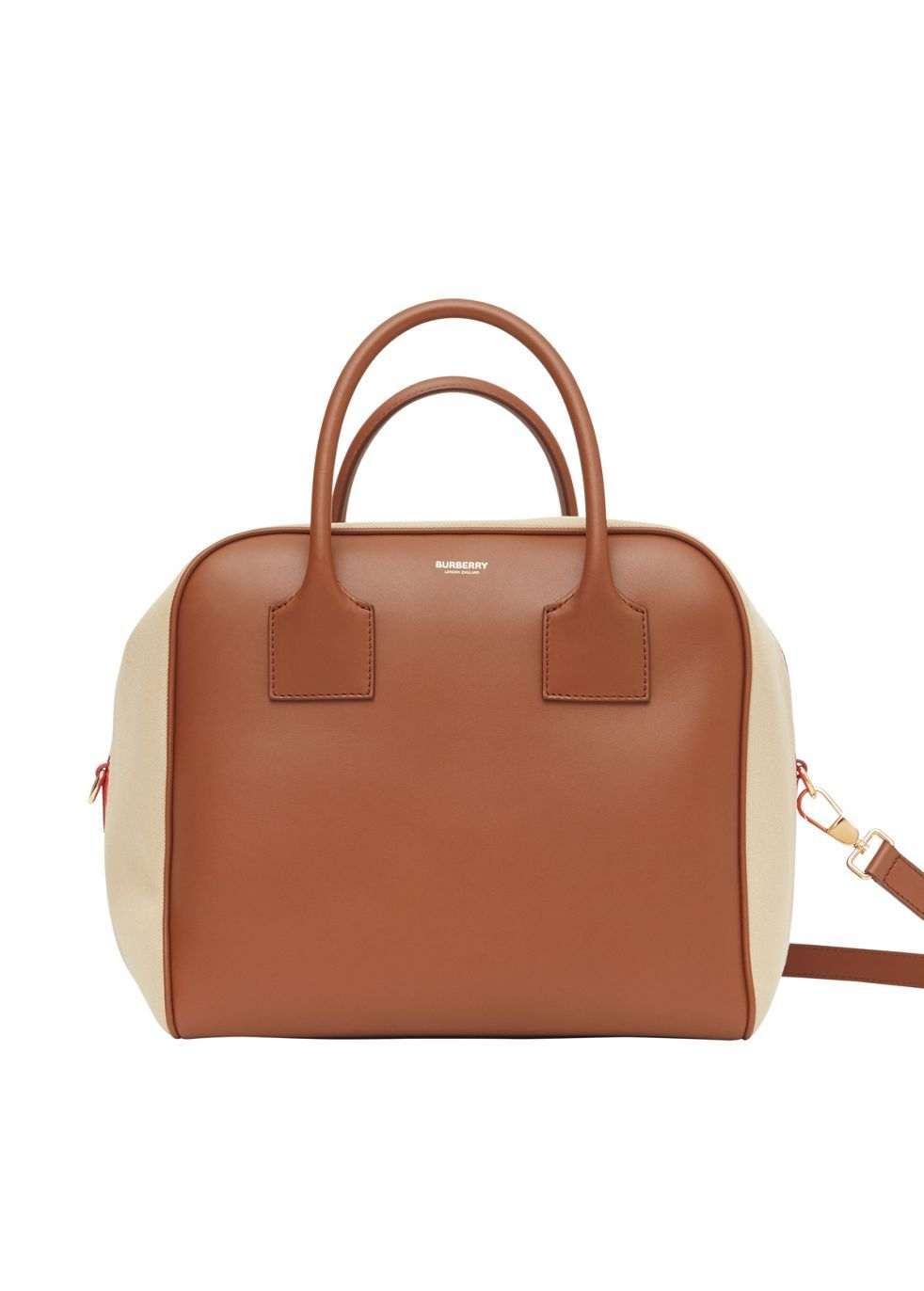 BURBERRY | Burberry Medium Leather And Cotton Canvas Cube Bag | Goxip