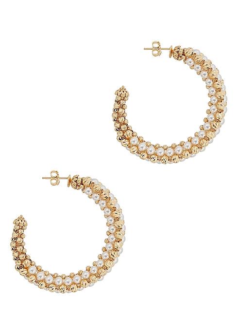 db20100ff Soru Jewellery Alessia 24kt gold-plated hoop earrings - Harvey Nichols