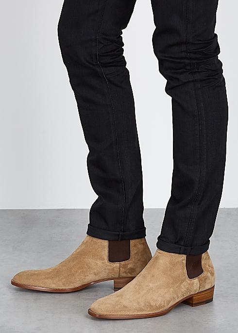 official shop to buy best service Saint Laurent Wyatt light brown suede Chelsea boots - Harvey ...
