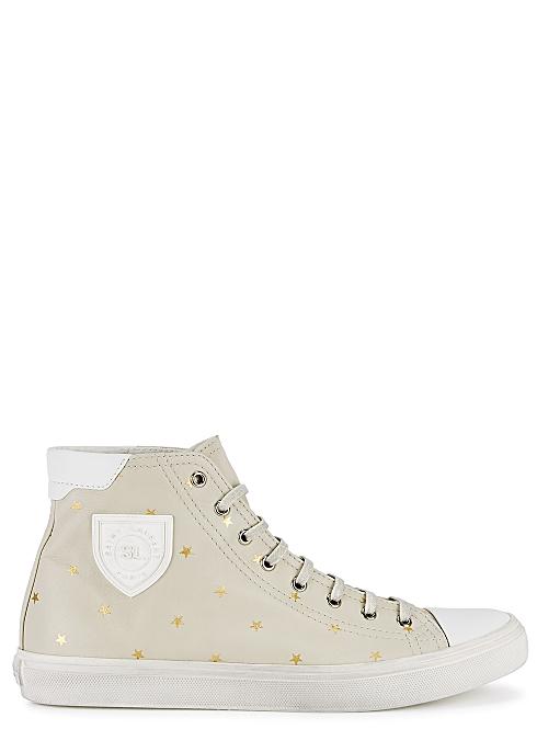c148b708d32 Saint Laurent Bedford stone leather hi-top sneakers - Harvey Nichols