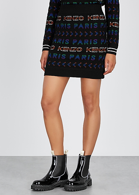 1596b816 Kenzo Black logo-intarsia wool-blend mini skirt - Harvey Nichols