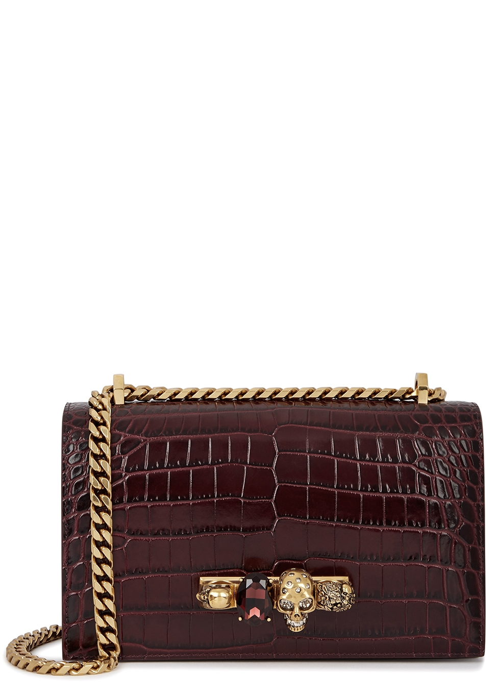 ALEXANDER MCQUEEN | Alexander McQueen Crocodile-Effect Leather Shoulder Bag | Goxip