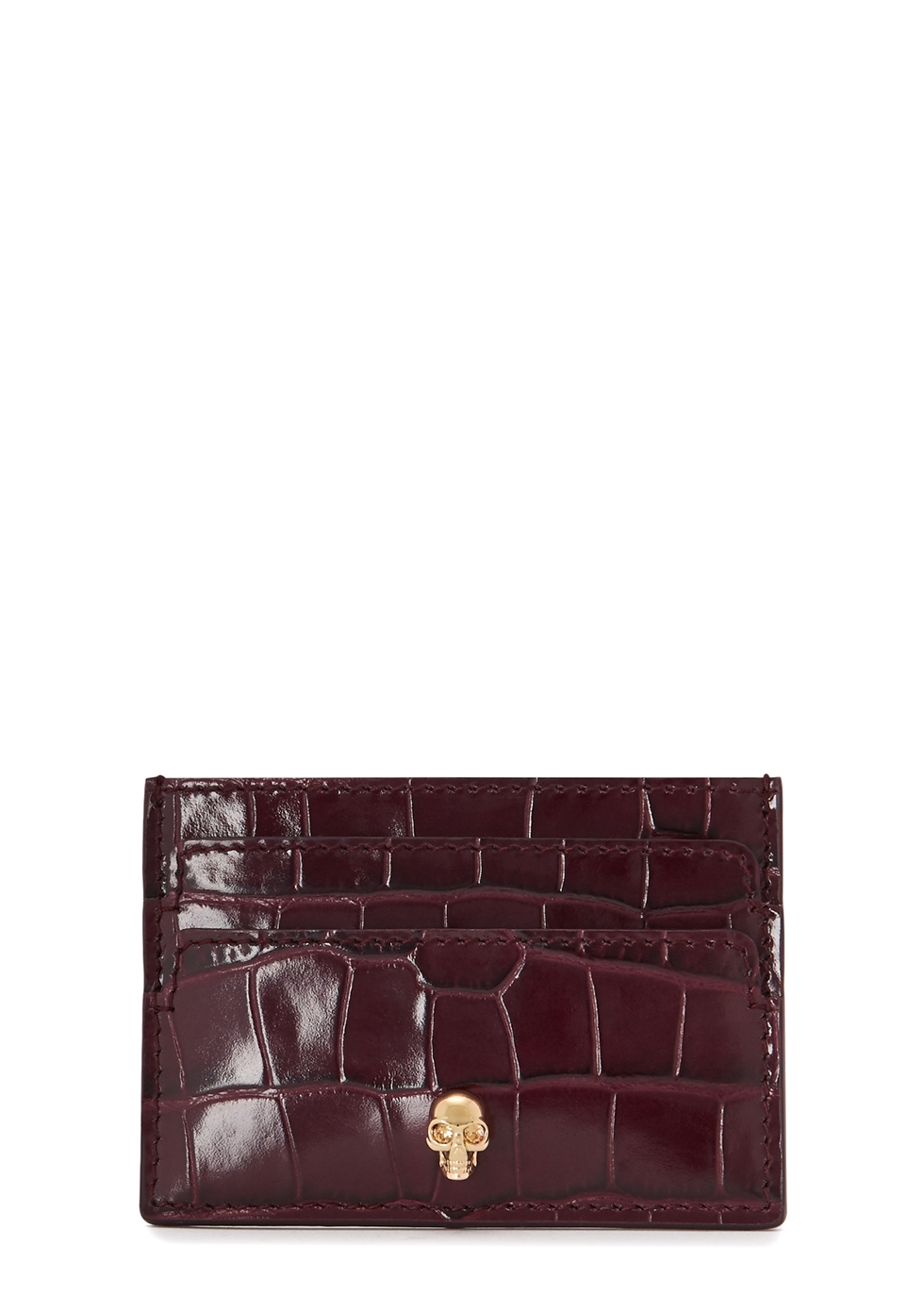 ALEXANDER MCQUEEN | Alexander McQueen Crocodile-Effect Leather Card Holder | Goxip