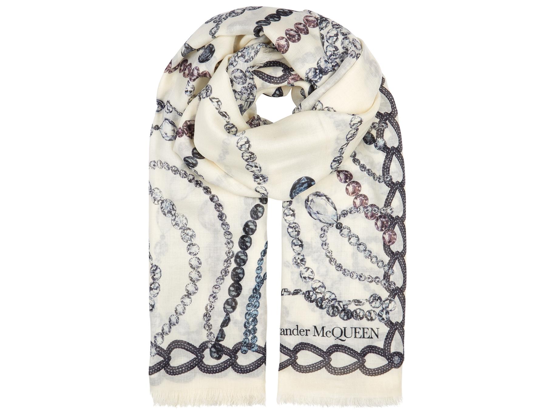 15f1f1aab Alexander McQueen Chandelier Skull printed modal-blend scarf - Harvey  Nichols