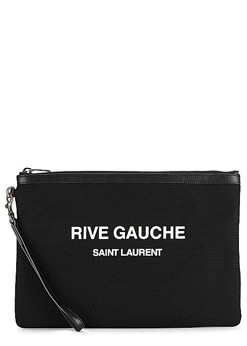25c0b558174 Saint Laurent Rive Gauche black canvas pouch - Harvey Nichols