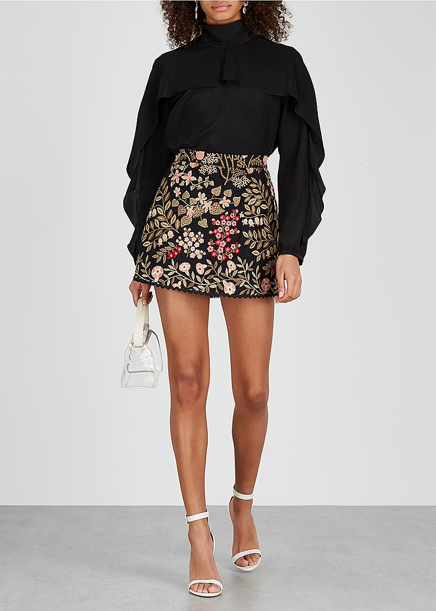 6adee9e15aa4 Black floral-embroidered cotton shorts Black floral-embroidered cotton  shorts