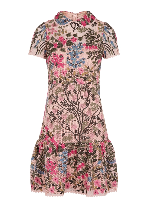 6becc7d2392 RED Valentino Pink floral-embroidered macramé dress - Harvey Nichols