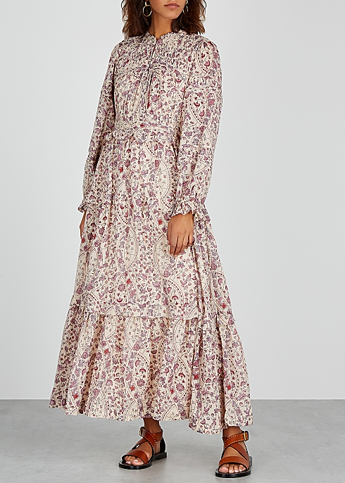 Likoya Floral Print Cotton Midi Dress
