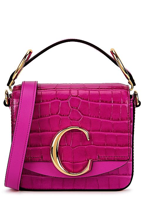 0d5c59cef77126 Chloé Chloé C mini fuchsia leather cross-body bag - Harvey Nichols