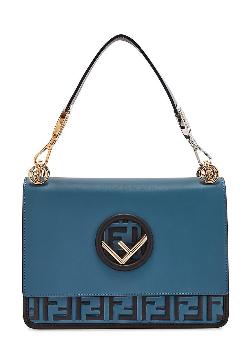 d917b5e2448 Kan I F logo-embossed leather shoulder bag ...