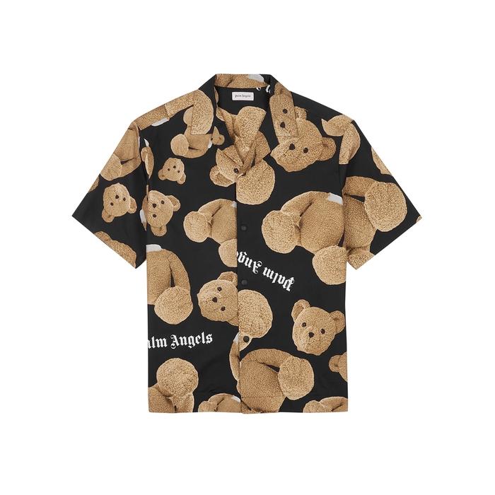 Palm Angels T-shirts Kill The Bear black cotton shirt