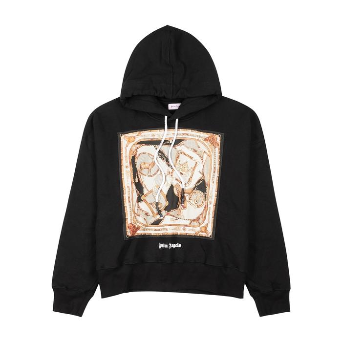 Palm Angels T-shirts BLACK HOODED COTTON SWEATSHIRT