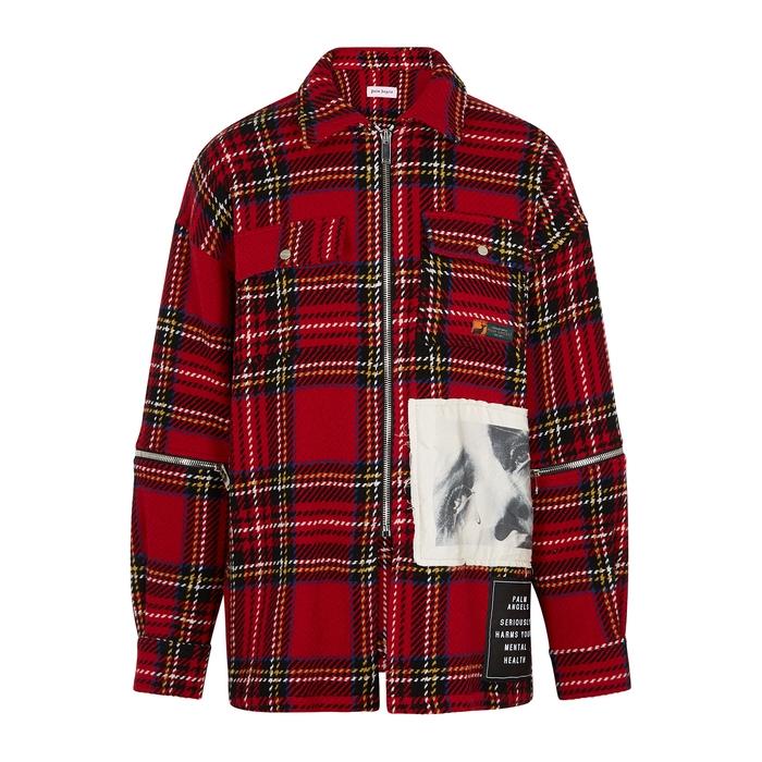 Palm Angels Jackets Tartan logo-print wool-blend jacket