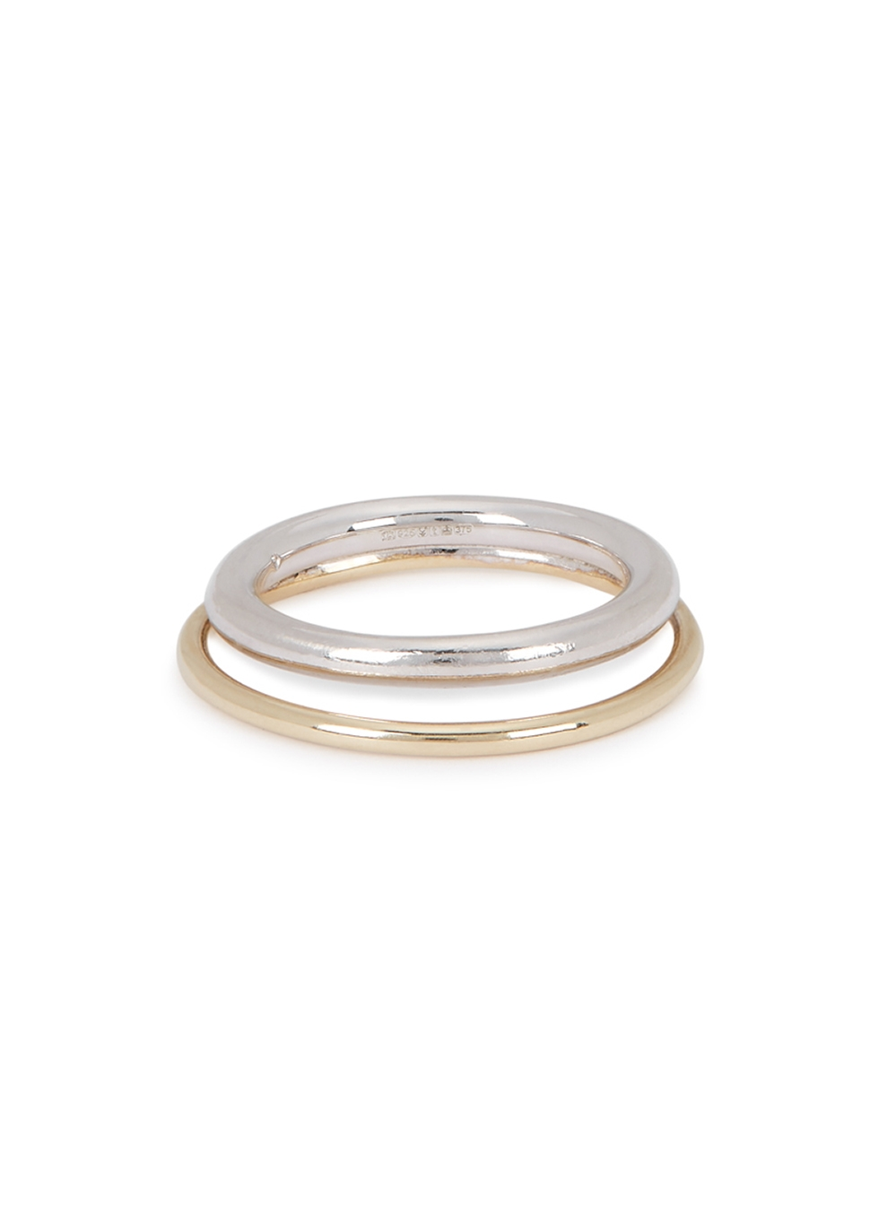 Duo sterling silver and gold ring