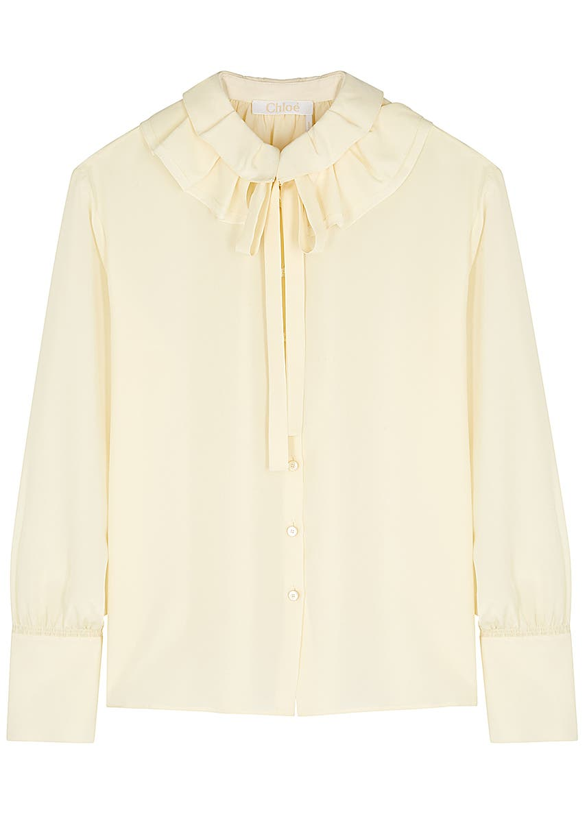 080a3c79ea407c Cream silk crepe de chine shirt ...
