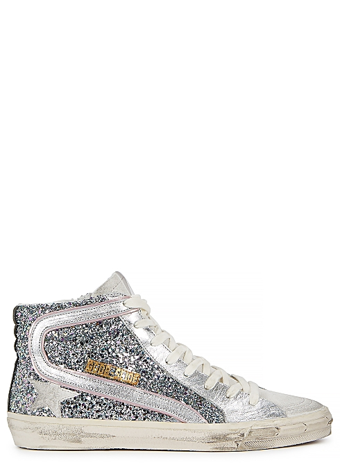 dc1a017c6031 Golden Goose Deluxe Brand Slide glittered leather hi-top sneakers ...