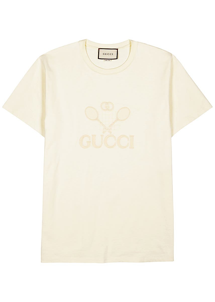 c4416b2ee Cream embroidered cotton T-shirt ...