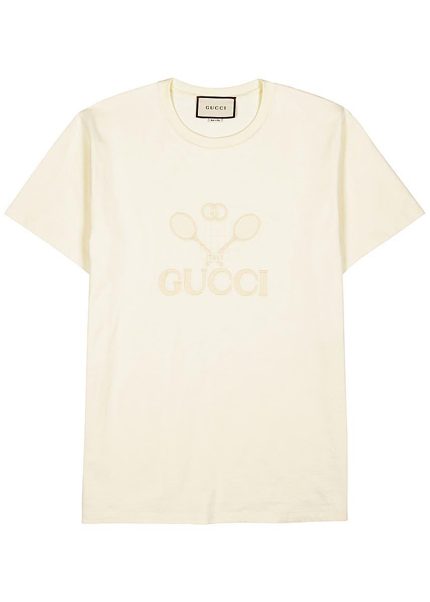fa41c61e6 Cream embroidered cotton T-shirt ...