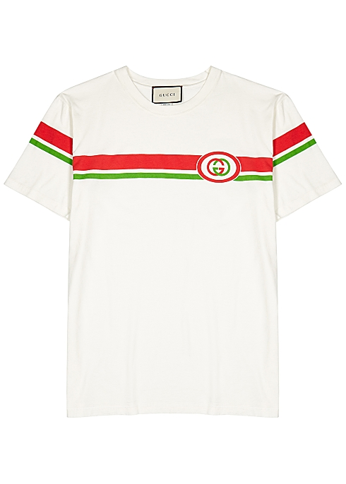 5cad786e Gucci Off-white printed cotton T-shirt - Harvey Nichols