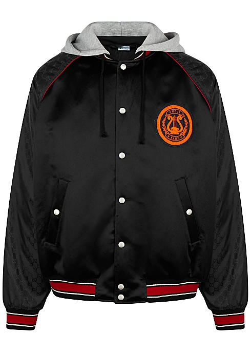 cd6d59f60 Gucci Black monogrammed shell bomber jacket - Harvey Nichols
