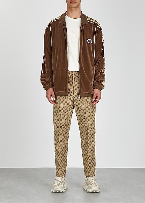b44402f2b Gucci Brown monogram-trimmed velour jacket - Harvey Nichols