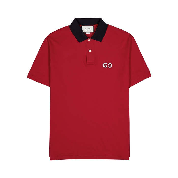 Gucci Red Piqué Cotton Polo Shirt