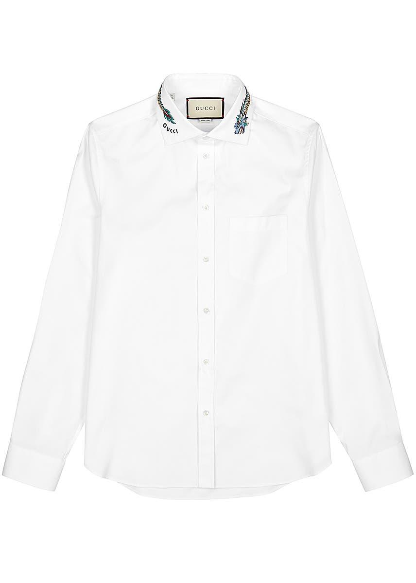 1bec5bb55ae9 Dragon-embroidered white cotton shirt ...
