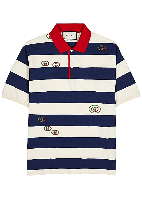 7a6e377a0 Gucci GG-embroidered striped cotton polo shirt - Harvey Nichols