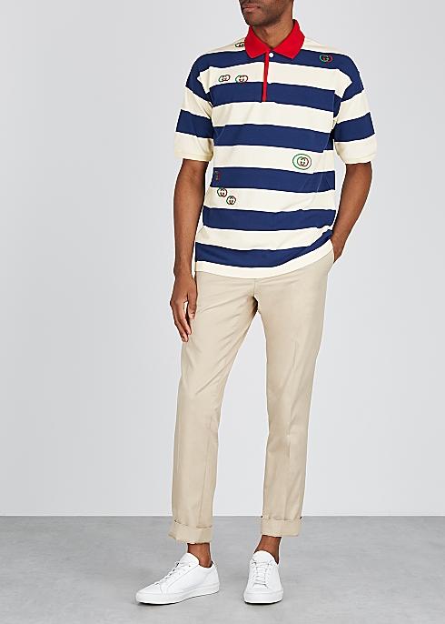 bef1d68cda Gucci GG-embroidered striped cotton polo shirt - Harvey Nichols