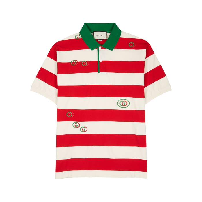 Gucci GG-embroidered Striped Cotton Polo Shirt