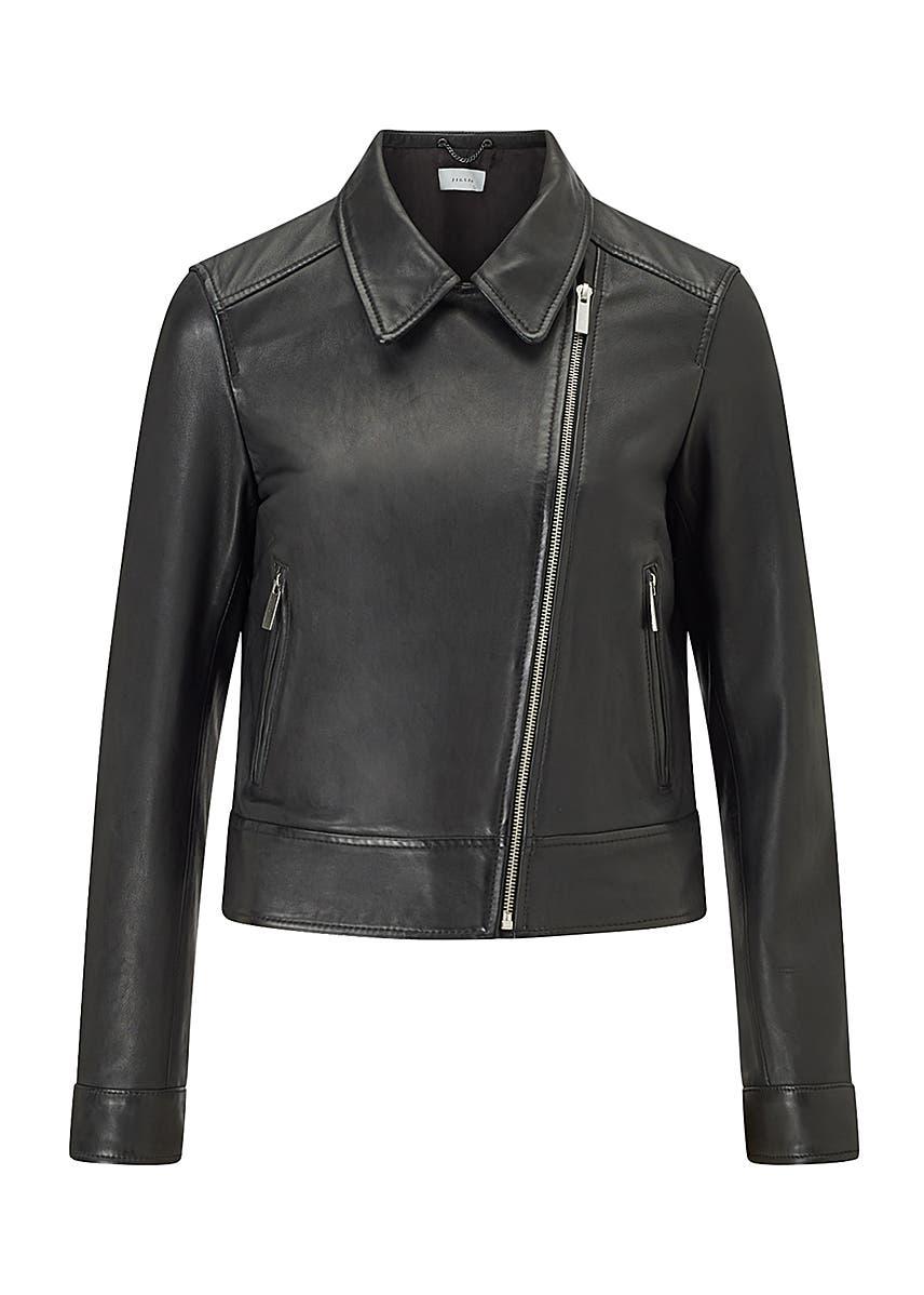 fc3d00042aa275 Cropped leather biker jacket ...