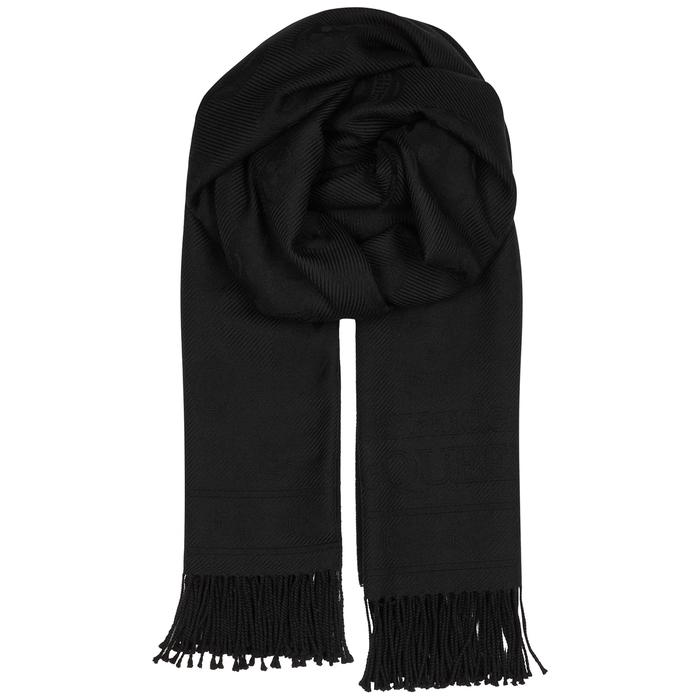 Alexander McQueen Black Skull-jacquard Wool Scarf