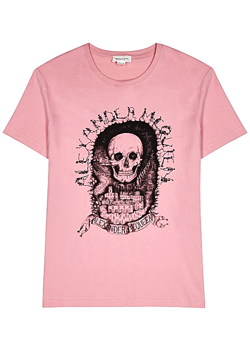 fb34acd09a598b Alexander McQueen Pink printed cotton T-shirt - Harvey Nichols
