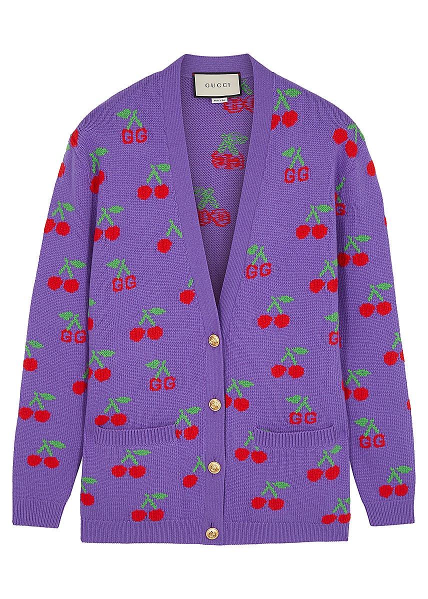 d5f38e145 GG cherry-intarsia wool cardigan ...