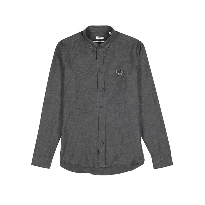 Kenzo Grey Tiger-Embroidered Cotton Shirt