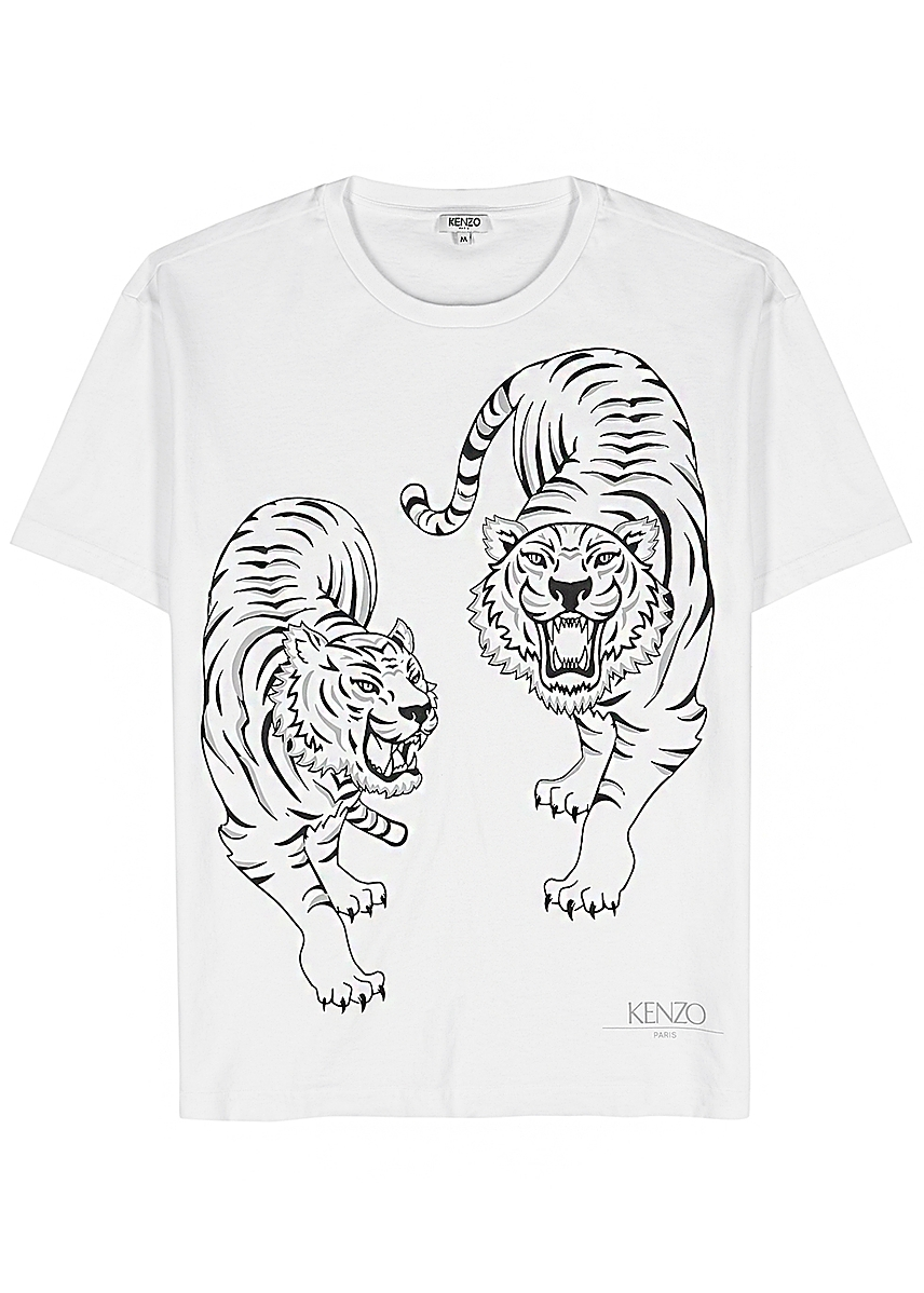 8f33cca827 White tiger-print cotton T-shirt ...